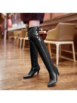 Studded Pu Patchwork Thigh High Boots