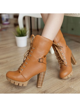 Pu Wedge Sole Chunky Heel Lace Up Booties