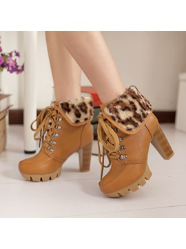 Leopard Printed Fold Over Lace Up Booties