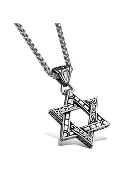 Mens Hollow Out Pentagram Pendent Necklace