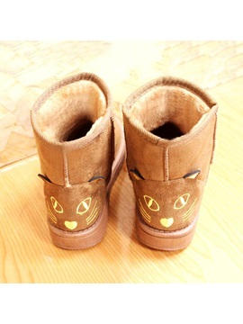 Cartoon Embroidered Slip On Snow Boots