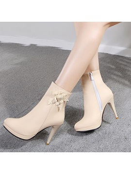 Solid Color Applique Zippered Ankle Boots