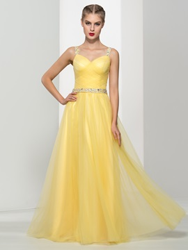 Fancy Straps A Line Sequins Beading Tulle Prom Dress