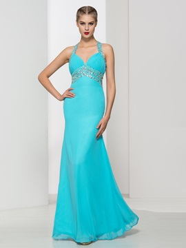 Criss Cross Straps Beading High Waist Long Prom Dress