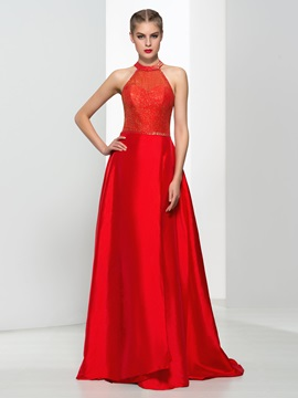 Amazing Halter Beading Sequins Red Evening Dress