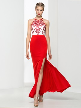 Chic Embroidery Sheath Split Front Red Evening Dress