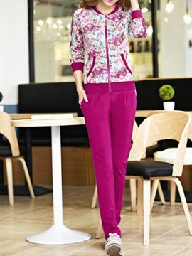 Multicolor Printing Jacket Solid Color Pant
