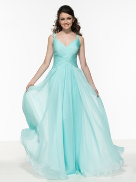 A Line Straps Pleats Hollow Cheap Prom Dress