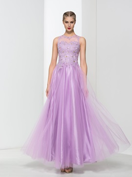 Fancy Straps Appliques Beading Tulle Prom Dress