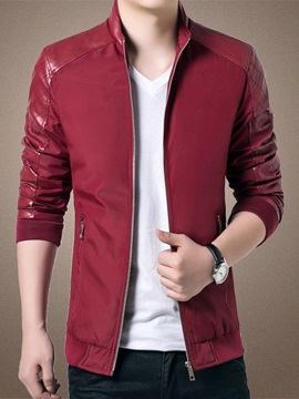 Solid Color Pu Zip Front Polyester Mens Jacket