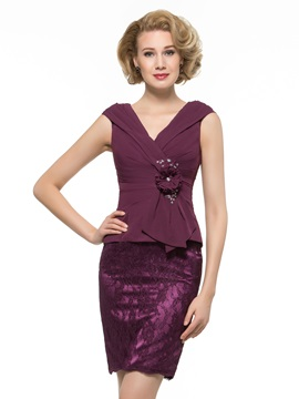 V Neck Ruched Chiffon Sheath Mother Of The Bride Dress