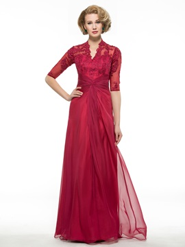 Lace Appliques V Neck Half Sleeve Burgundy Mother Of Bride Dress
