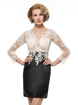 Lace Appliques Jewel Neck Long Sleeve Sheath Mini Mother Dress