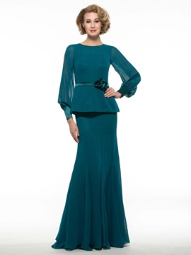 Scoop Neck Long Sleeve Lace Blue Chiffon Mother Of The Bride Dress
