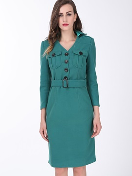 Vintage Turn Down Collar Bodycon Dress