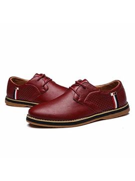 Embossed Lace Up Mens Casual Shoes