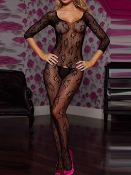 Black See Through Graphic Floral Body Stocking