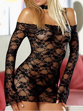 Graceful See Through Falbala Solid Women Chemise