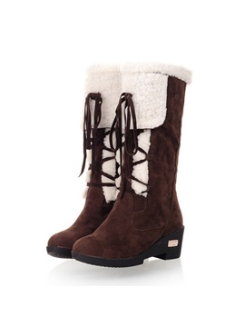 Purfle Lace Up Front Chunky Heel Snow Boots