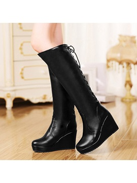 Pu Wedge Heel Knee High Boots