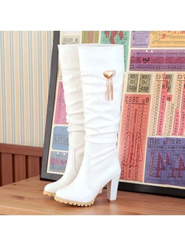 Ruched Platform Chunky Heel Knee Knee High Boots