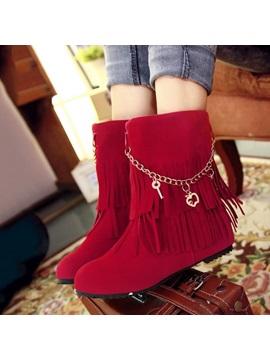 Chains Tassels Suede Slip On Booties