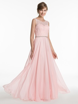 Scoop Neck A Line Long Lace Bridesmaid Dress