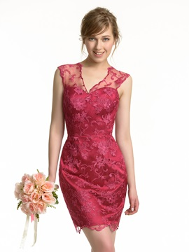 Sheath Short V Neck Lace Bridesmaid Dress