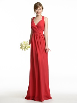 Sexy V Neck Spaghetti Straps Chiffon Long Bridesmaid Dress