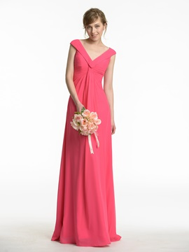 Cheap Pleated V Neck Light Plum Chiffon Bridesmaid Dress