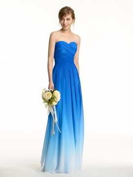 Ruched Sweetheart Zip Up Exclusive Color Waves Bridesmaid Dress