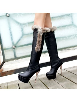 Faux Fur Stiletto Heel Knee High Boots