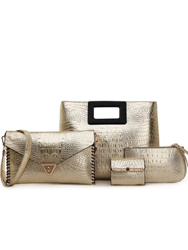 Crocodile Letter Women Bag Set 4 Pieces