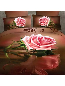 Pink Rose Printed 3d 4 Piece Bedding Sets