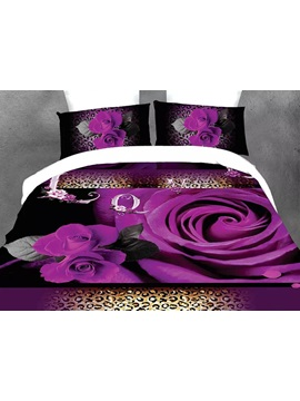 Purple Rose Image 4 Piece Bedding Sets