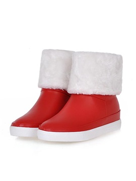 Pu Fold Over Slip On Snow Boots