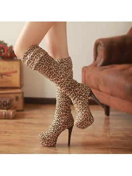 Leopard Printed Stiletto Heel Thigh High Boots