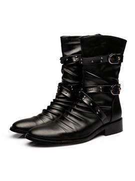 Solid Color Buckles Ruched Men's Boots