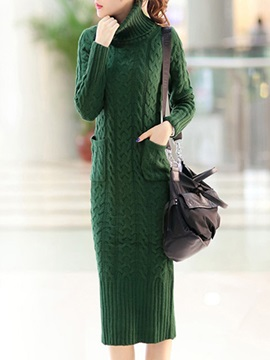 Solid Color Turtleneck Long Sleeve Sweater Dress