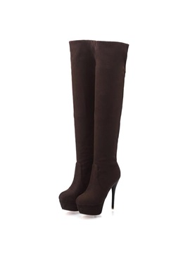 Solid Color Suede Platform Over Knee Boots