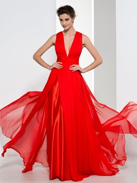 Attractive V Neck Pleats Button Red Evening Dress