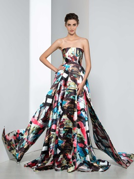 Chic Strapless A Line Tiered Print Evening Dress