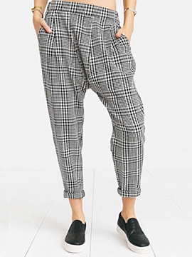 Fashion Double Pocket Paid Harem Casual Pants