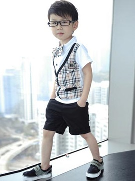 Plaid Short Shirt Short Pants Boys Suits