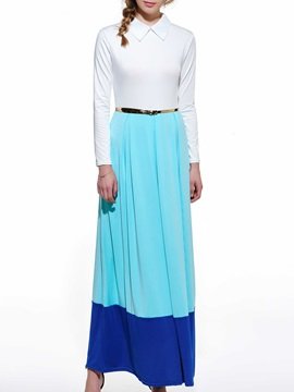Turn Down Collar Belt Maxi Dress