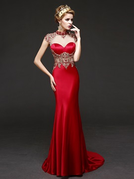 Amazing High Neck Beading Crystal Sheath Evening Dress