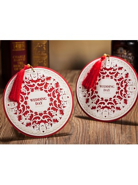 Round Floral Elegant Wedding Invitations 20 Pieces One Set