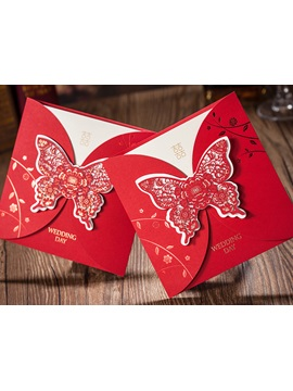 Butterfly Folding Red Wedding Invitation Card 20 Pieces One Set