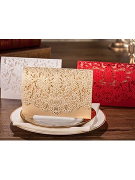 Flower Cut Out Golden Wedding Invitations 20 Pieces One Set
