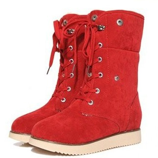Cheap Fold Over Lace Up Suede Orange Booties